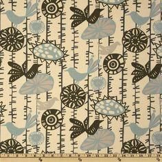 Premier Prints Menagerie Village Blue/Natural - Discount Designer Fabric - Fabric.com