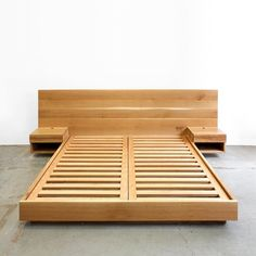 Diy bed - Hanko Plinth Bed with Side Tables Bed Frame Design, Bedroom Bed Design, Diy Bed Frame, Bed Frames, Bedroom Ideas, Pallet Furniture, Bedroom Furniture, Furniture Design, Furniture Dolly