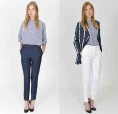 E. Tautz 2015 Spring Summer Womens Lookbook Presentation - London Fashion Week British UK United Kingdom - Denim Jeans Dress High Waist Naval Maritime Marine Sailor Nautical Uniform Roomy Tunic Linen Stripes Oversized Sneakers Outerwear Parka Wide Leg Palazzo Pants Trousers Loungewear Blazer