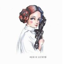 """Princess Leia Fine Art Giclée Print One of my original drawing in 2017 Hand signed by artist Archival inks printed on 210gsm Fine Art Matte Paper Measures 5""""x7"""" & 8""""x10"""" markers,space,galaxy,girl,original,art,star wars,cute,universe,portrait"""