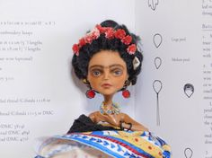 Frida Doll Diego Loves  smoking Poseable blue and by CatEncioDolls