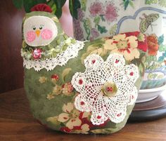 Hen Pillow Doll Cloth Doll Chicken 7 inch Green by CharlotteStyle, $14.00