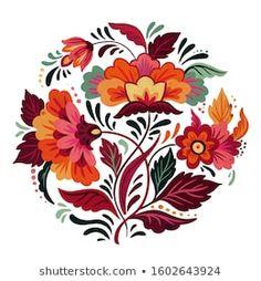 Folk flowers on Behance Floral Illustrations, Botanical Illustration, Illustration Art, Folk Art Flowers, Flower Art, Art Hippie, Scandinavian Folk Art, Arte Floral, Pottery Painting