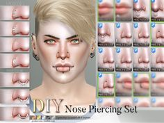 sims 4 cc // custom content accessories// The Sims Resource // // Pralinesims' DIY Nose Piercing Set The Sims 4 Skin, The Sims 4 Pc, Sims 4 Mm, Mods Sims, Sims 4 Game Mods, Sims Games, Sims 4 Piercings, Septum Piercings, Pelo Sims