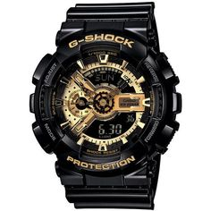G Shock Ga110gb-1 Watch Black ($230) ❤ liked on Polyvore featuring men's fashion, men's jewelry, men's watches, accessories, black, men, watches, mens big face gold watches, g shock mens watches and mens watches
