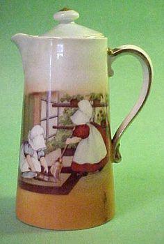 RARE Vintage Royal Bayreuth Chocolate Pot Sunbonnet Babies Sweeping | eBay