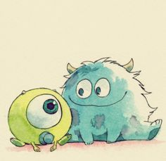 Baby Mike Wasowski & Sully.