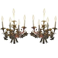 Pair of Gilded Metal Sconces