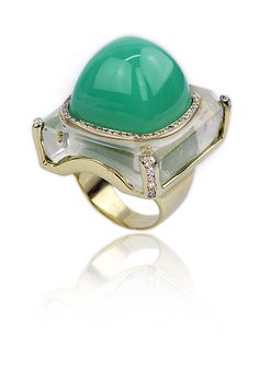 Kara Ross Cava ring with a central cabochon chrysoprase set into rock crystal.