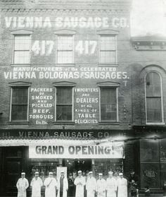 Grand opening of the Vienna Sausage Co. (now known as Vienna Beef) 415-417 S Halsted (street number changed later to 1215-1217 S Halsted), 1894, Chicago