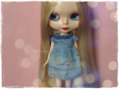 BLYTHE Dress, Pure Neemo, Licca, Takara, Pullip, Dal - Knitted Multicolor Blue Dress With Beads #32 by MPdollWorld on Etsy