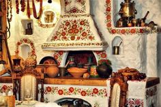 wood stove decorated in petrykivka drawings, from Iryna with love