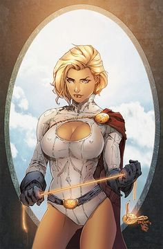 Power Girl....incidentally, I've seen this rendering in a variety of color schemes; this one isn't my favorite, and I will replace it if I can find the one I really like...