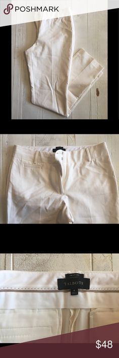 "Talbots Newport Pant Talbots Newport Pant  ▪️Details: Beautifully tailored off-white/light white pants with the pockets still sewn shut.  ◾️Condition: NWOT  ◼️Measurements when measured laying flat: Waist:16"" Inseam: 31""  ⬛️Style Suggestion: This is a great pant when you want to dress up but not wear a dress or skirt. Perfect for that fancier baby shower, graduation, or Mother's Day event. Pair with a silky top, chunky jewelry, and a knock out heel.  Date Posted: 4/26 Talbots Pants"