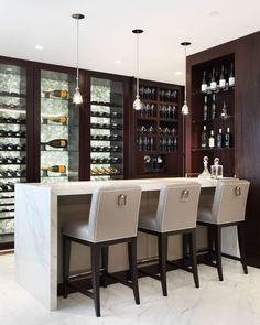 33 Home Bar Design Ideas. The home bar is among the pinnacles of domestic luxury. Every home bar requires the proper stemware to relish unique kinds of drinks. Bar Counter Design, Home Bar Counter, Basement Bar Designs, Basement Ideas, Basement Decorating, Modern Basement, Rustic Basement, Basement Bars, Basement Renovations