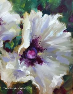 White Wing Poppies, painting by artist Nancy Medina♥•♥•♥
