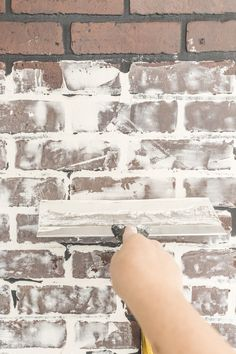 How to Paint an Industrial Faux Brick Wall - Cherished Bliss Faux Brick Wall Panels, Fake Brick Wall, Brick Wall Paneling, Faux Panels, Painted Brick Walls, White Paneling, Painted Brick Backsplash, Design Loft, Brick Interior