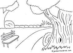 Sketsa Mewarnai Pemandangan Kebun Raya