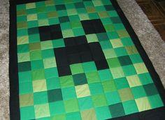 MINECRAFT quilt handmade green patchwork throw blanket gift