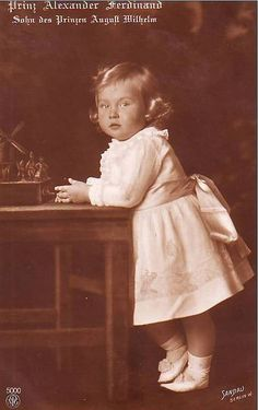 Prince Alexander Ferdinand of Prussia, only child of Prince August Wilhelm and Princess Alexandra Victoria of Prussia, as a toddler.