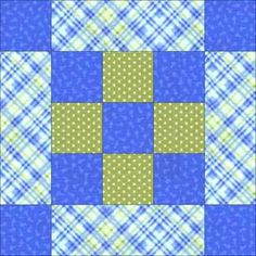 Potential Disney character quilt block.  Replace center block with white or single color fabric for character signature.  Replace little square corner block with character fabric and rectangle with complimentary colors, or vice versa.