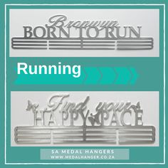 Personalised Medal Hangers for your Running Medals.  These Medal Hangers are custom made and we can manufacture for any sport.  We love to get creative! Happy Pace, Born to Run
