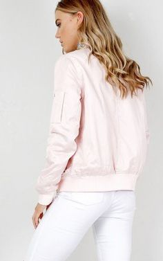 Sweet Thoughts Bomber Jacket in blush sateen