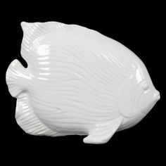 Urban Trends Linear Scale Ceramic Angel Fish Figurine - 32406
