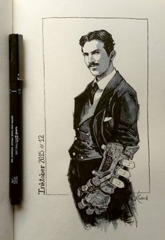 Nikola Tesla by Koveck . Character Drawing Illustration