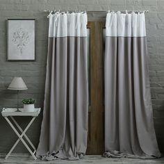 Grey/White Embroidery Eyelet Curtain : BIGGIE BEST