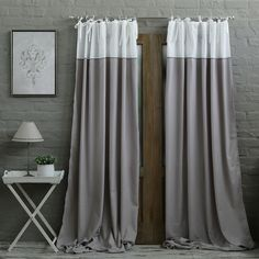 Grey/White Embroidery Eyelet Curtain : BIGGIE BEST