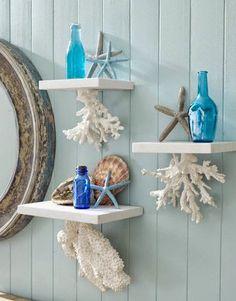 como decorar baño con motivos marinos color azul turquesa - Buscar con Google