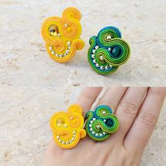 Bead Jewellery, Wire Jewelry, Jewelery, Handmade Jewelry, Cute Earrings, Ring Earrings, Soutache Earrings, Ribbon Crafts, Diy Accessories
