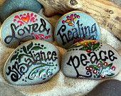 Perfectly Balanced / Set of 4 Painted Rocks / Sandi Pike Foundas / Cape Cod sea stones
