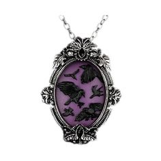 Bird Panic Cameo Brooch Necklace ($15) ❤ liked on Polyvore featuring jewelry, necklaces, accessories, purple, cameo necklace, cameo jewelry, purple necklace, bird necklace and purple jewelry