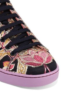 Gucci - Ace Metallic Leather-trimmed Brocade Sneakers - Lilac