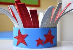 Craft a festive Red, White and Blue firecracker hat.