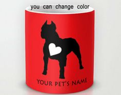 What Coffee-Drinking, Pit Bull Parent Wouldn't Want This?  Personalized mug cup designed PinkMugNY - Pit Bull Silhouette