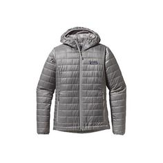 Women's Patagonia Nano Puff Brick Quilted Hoody (345 NZD) ❤ liked on Polyvore featuring activewear, grey, jackets, patagonia, patagonia sportswear and tail activewear