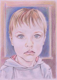 """""""Cap de baiat"""" - creion color."""