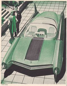 Vintage Trucks Quaker State Ad, 1956 featuring the Ford Atmos concept car I adore this too much - Ford Motor Company, Vintage Advertisements, Vintage Ads, Vintage Posters, Vintage Designs, Transporter, Googie, Us Cars, Vintage Trucks