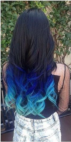 amazing black to blue ombre hair