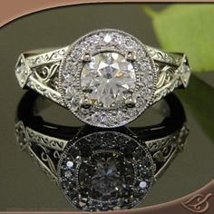 Antique Halo Mounting with an Ideal Cut Diamond prong