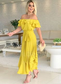 Yellow General Yellow X-line Dress Day Dresses Elegant Sashes Polyester Spring Maxi Summer Wrap Off the Shoulder S M Short Sleeve L XL XXL Solid Dress Hoco Dresses, Dresses For Teens, Modest Dresses, Tight Dresses, Simple Dresses, Elegant Dresses, Cute Dresses, Dress Outfits, Casual Dresses