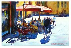 """Daily+Paintworks+-+""""Cycling+through+the+piazza.""""+-+Original+Fine+Art+for+Sale+-+©+Graham+Berry"""
