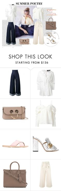 """""""Summer Poetry"""" by tessabit ❤ liked on Polyvore featuring Oris, Jacquemus, J.W. Anderson, Ancient Greek Sandals, Gucci, Yves Saint Laurent and Étoile Isabel Marant"""