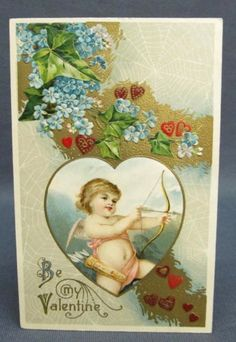 Antique-Winsch-Postcard-Valentines-Day-Be-My-Spider-Web-Cupid-Shooting-Arrow