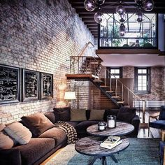Amazing loft design with exposed brick. amazing loft design with exposed brick brick room, brick walls, retro living Loft Estilo Industrial, Industrial Interior Design, Industrial House, Industrial Interiors, Home Interior Design, Interior Architecture, Industrial Style, Industrial Loft Apartment, Exposed Brick Apartment