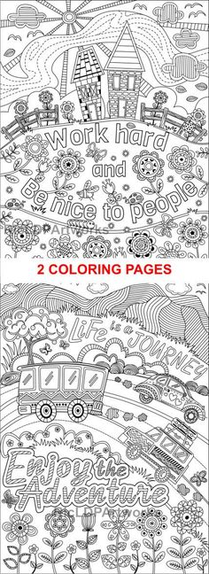 Two 2 Printable Coloring Pages For Kids Or Grown Ups Work