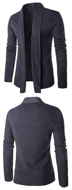 lim Shawl Collar Drape Cardigan - Deep Gray L